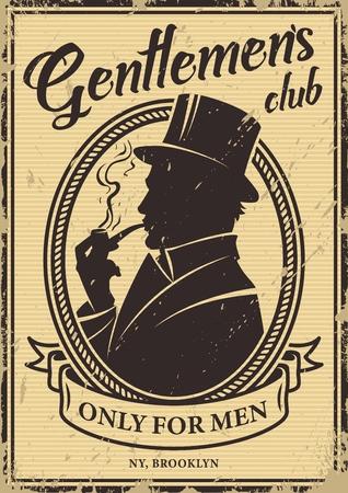 Poster vintage club per gentiluomini con silhouette uomo britannico che indossa cappello a cilindro e illustrazione vettoriale pipa da fumo Vettoriali