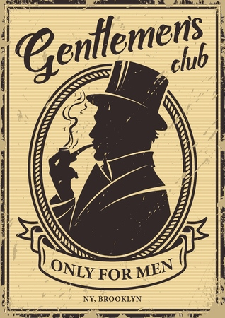 Vintage gentlemen's club poster with british man silhouette wearing top hat and smoking pipe vector illustration