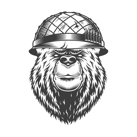 Vintage bear head in soldier helmet in monochrome style isolated vector illustration