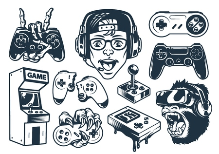 Vintage monochrome gaming set with boy wearing headphones gorilla in virtual reality set joysticks pocket console arcade machine isolated vector illustration