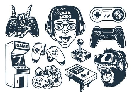 Vintage monochrome gaming set with boy wearing headphones gorilla in virtual reality set joysticks pocket console arcade machine isolated vector illustration Vetores