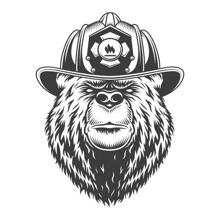 Vintage monochrome firefighting concept with serious bear head in fireman helmet isolated vector illustration