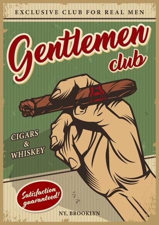 Affiche colorée du club des hommes vintage avec des inscriptions et une main masculine tenant une illustration vectorielle de cigare cubain Vecteurs