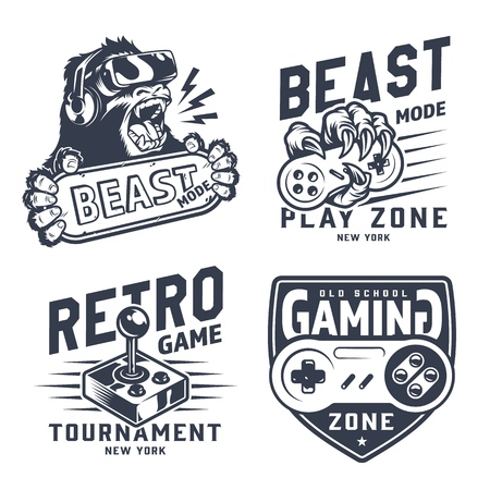 Vintage gaming emblems set with gorilla in virtual reality headset monkey hand holding joystick retro gamepad isolated vector illustration Illustration