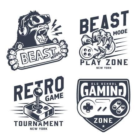 Vintage gaming emblems set with gorilla in virtual reality headset monkey hand holding joystick retro gamepad isolated vector illustration 向量圖像