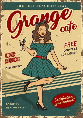 Retro party colorful poster with pretty woman in beautiful dress holding cocktail in vintage style vector illustration Illustration