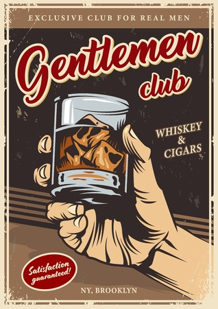 Modèle de publicité de club de messieurs vintage avec une main masculine tenant un verre de whisky et des glaçons illustration vectorielle