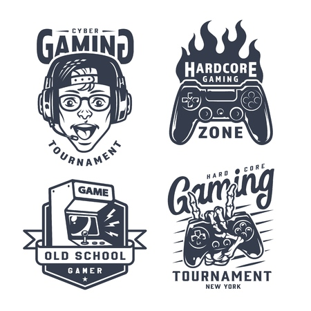 Vintage monochrome gaming labels set with boy wearing headphones joystick retro arcade machine skeleton hand holding gamepad isolated vector illustration