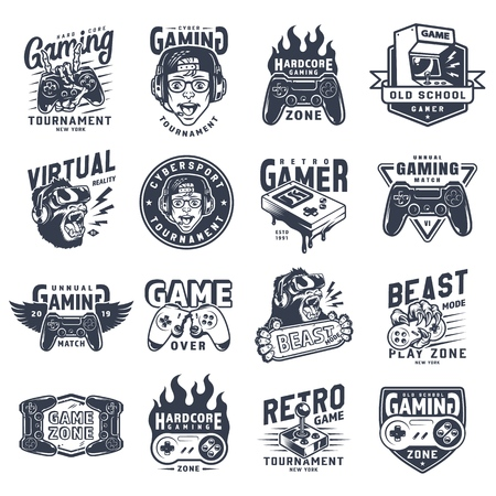 Emblèmes de jeu monochromes vintage sertis d'inscriptions, appareils d'équipement de jeu vidéo et gadgets isolés illustration vectorielle