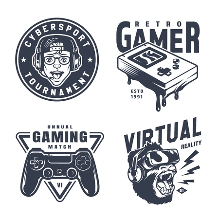 Vintage monochrome video game logos with gamer wearing headphones pocket console joystick angry gorilla in virtual reality headset isolated vector illustration