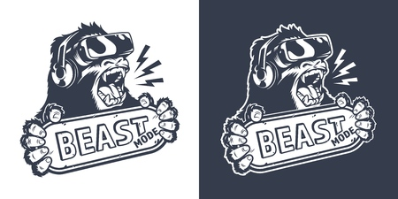 Logo de jeu monochrome vintage avec gorille en colère dans un casque de réalité virtuelle tenant une plaque signalétique avec inscription en mode bête illustration vectorielle isolée Logo