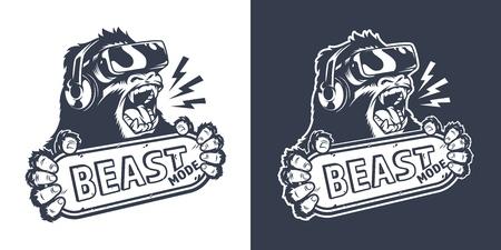 Logo di gioco monocromatico vintage con gorilla arrabbiato in cuffie da realtà virtuale che tiene targhetta con illustrazione vettoriale isolata iscrizione modalità Bestia Logo
