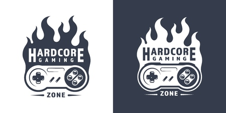 Fiery retro game controller emblem in vintage monochrome style isolated vector illustration