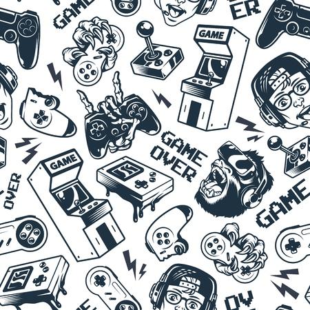 Vintage gaming seamless pattern with joysticks gamepad gorilla in virtual reality headset broken gamepad retro arcade game machine pocket console vector illustration