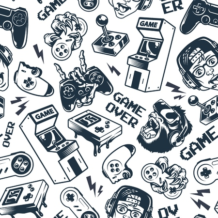 Vintage gaming seamless pattern with joysticks gamepad gorilla in virtual reality headset broken gamepad retro arcade game machine pocket console vector illustration Stok Fotoğraf - 115207072