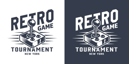 Monochrome gamepad or joystick logotype in vintage style isolated vector illustration