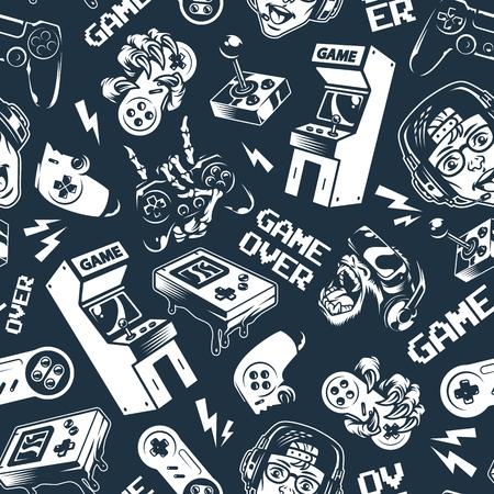 Patrón transparente de videojuego monocromo vintage con dispositivos de juegos electrónicos y gadgets en la ilustración de vector de fondo oscuro