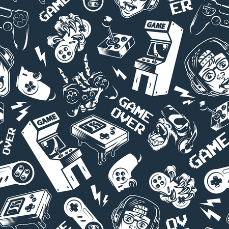 Vintage monochrome video game seamless pattern with electronic gaming devices and gadgets on dark background vector illustration