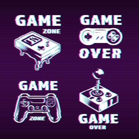 Glitch etiquetas de juego de estilo gráfico con inscripciones consola de bolsillo retro gamepad joystick y joypad ilustración vectorial