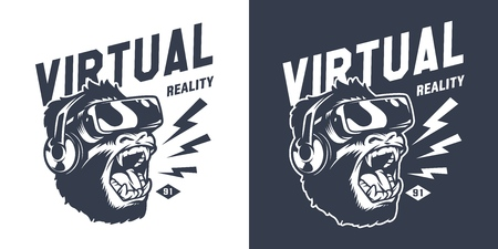 Vintage gaming monochrome print design with angry gorilla in virtual reality headset isolated vector illustration Ilustração