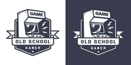 Retro acrade game machine badge in old school monochrome style isolated vector illustration