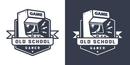 Retro acrade game machine badge in old school monochrome style isolated vector illustration