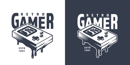Vintage pocket game console emblem with inscription in monochrome style isolated vector illustration