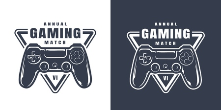 Vintage game controller print in monochrome style isolated vector illustration