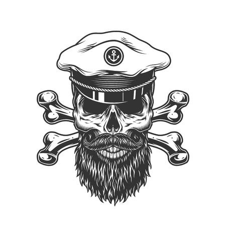 Vintage bärtiger und schnurrbärtiger Schädel in Kapitänsmütze mit gekreuzten Knochen isolierte Vektorillustration