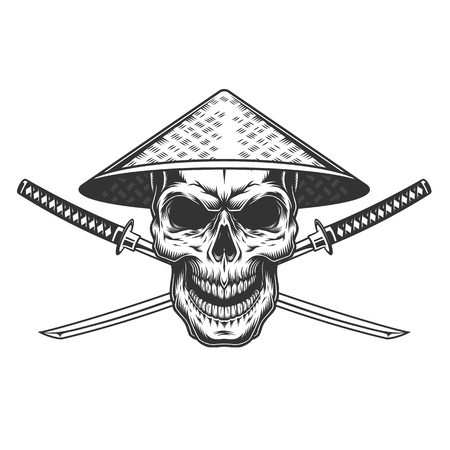 Vintage skull in chinese conical straw with crossed sabers isolated vector illustration