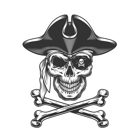 Vintage skull in pirate hat with eye patch and crossbones isolated vector illustration