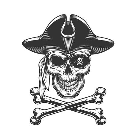 Vintage schedel in piratenhoed met ooglapje en gekruiste knekels geïsoleerde vectorillustratie