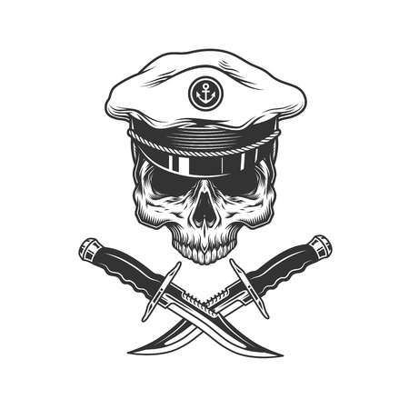 Vintage sea captain skull without jaw and crossed knives isolated vector illustration