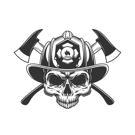 Skull without jaw in fireman helmet with crossed axes in vintage monochrome style isolated vector illustration Çizim