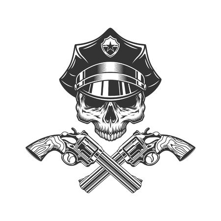 Skull without jaw in policeman hat with crossed revolvers in vintage monochrome style isolated vector illustration