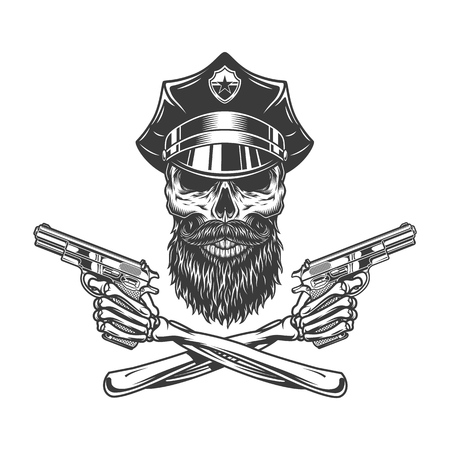 Bearded and mustached police officer skull with crossed skeleton hands holding pistols in vintage style isolated vector illustration Illustration