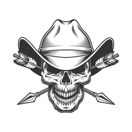 Cráneo vintage con sombrero de vaquero con flechas cruzadas en estilo monocromo aislado ilustración vectorial