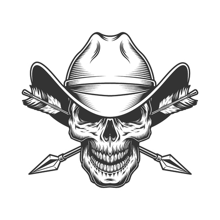 Vintage skull in cowboy hat with crossed arrows in monochrome style isolated vector illustration