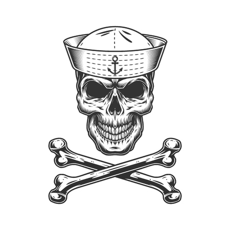 Vintage monochrome sailor skull with crossbones isolated vector illustration