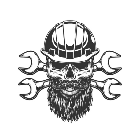 Bearded and mustached builder skull with crossed spanners in vintage style isolated vector illustration Banco de Imagens - 115207217