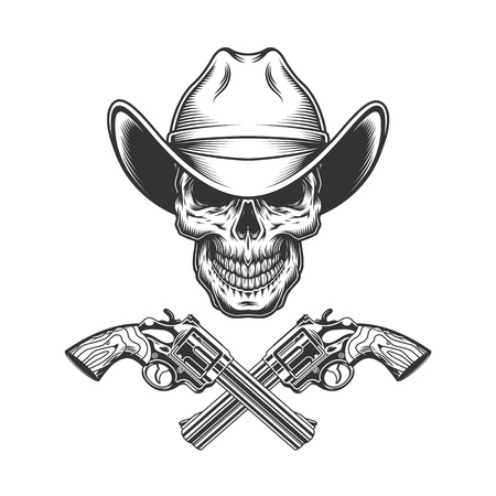 Vintage monochrome skull in cowboy hat with crossed guns isolated vector illustration