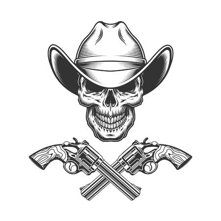 Vintage monochromer Schädel im Cowboyhut mit gekreuzten Waffen isolierte Vektorillustration vector