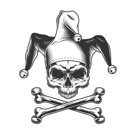 Vintage jester skull without jaw and crossbones in monochrome style isolated vector illustration Stock Vector - 115207224