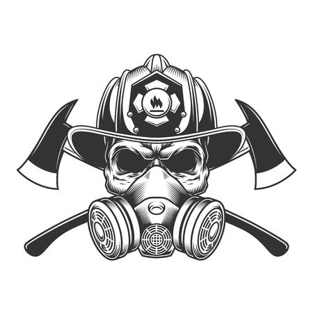 Crâne de pompier monochrome vintage dans un casque de pompier et un masque à gaz avec des axes croisés isolés illustration vectorielle