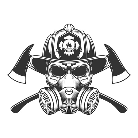 Vintage monochrome firefighter skull in fireman helmet and gas mask with crossed axes isolated vector illustration Illustration
