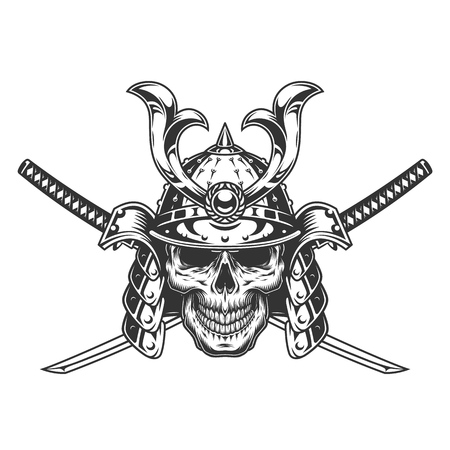 Vintage monochrome skull in samurai helmet with crossed swords isolated vector illustration