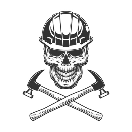 Vintage builder skull with crossed hammers in monochrome style isolated vector illustration