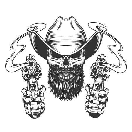 Vintage bearded and mustached cowboy skull with skeleton hands holding pistols isolated vector illustration Foto de archivo - 115207241