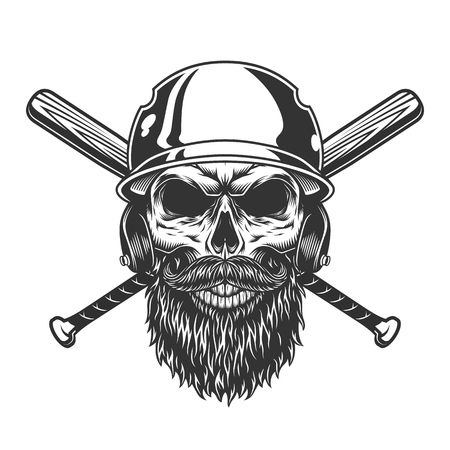 Vintage monochrome skull in baseball helmet with beard mustache and crossed bats isolated vector illustration