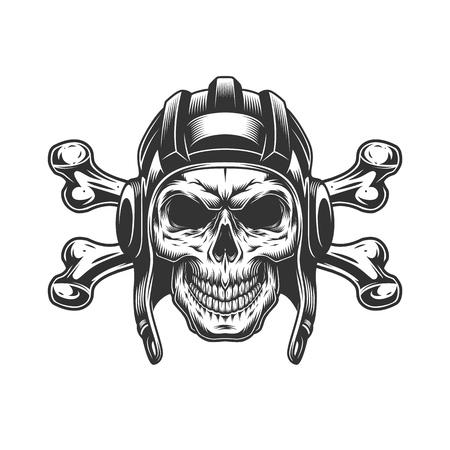 Cráneo monocromático vintage en casco de tanqueista con tibias cruzadas aislado ilustración vectorial